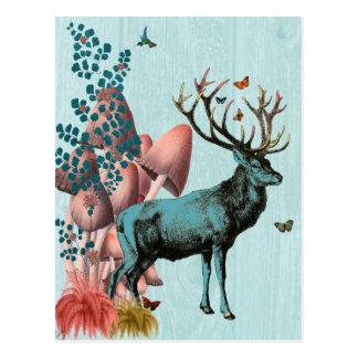 Türkis-Rotwild in Pilz-Wald 2 Postkarte
