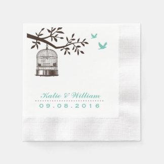 Türkis-rustikaler Vogelkäfig-Wedding Servietten