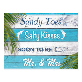 Türkis Sandy Toes salzige Küsse Save the Date Postkarte
