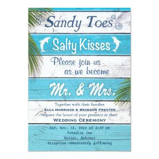 Türkis Sandy Toes salzige Küsse Wedding einladen 12,7 X 17,8 Cm Einladungskarte