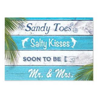 Türkis Sandy Toes salziges Kuss-Verlobungs-Party 12,7 X 17,8 Cm Einladungskarte