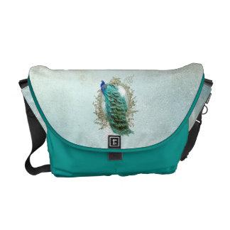 Türkis-schäbiger Pfau-Vintage Bote-Tasche Kuriertaschen