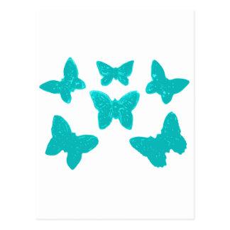 Türkis-Schmetterlings-Muster Postkarte