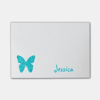Türkis-Schmetterlings-personalisierter Girly Name Post-it Klebezettel