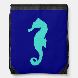 Türkis-Seepferd auf Marine-Blau Sportbeutel