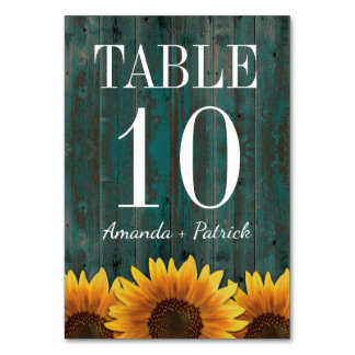 Türkis-Sonnenblume-Wedding Tischnummer-Karten Karte