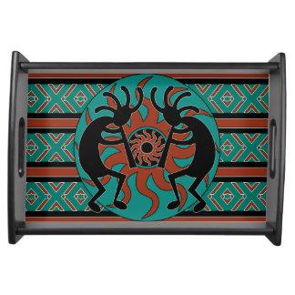 Türkis Stammes- Sun Kokopelli südwestlich Tablett