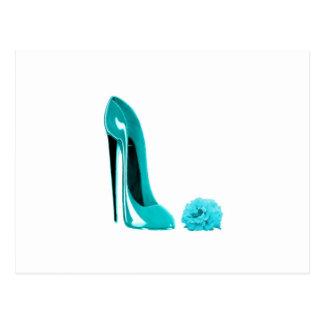 Türkis-Stilett-Schuh und Rose Postkarte