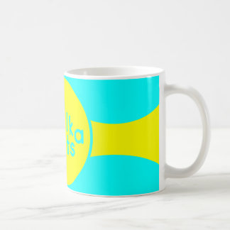 Türkis-u. Sonnenschein-gelbe klassische weiße Kaffeetasse