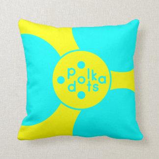 Türkis-u. Sonnenschein-gelbes Tupfen-Kissen Kissen