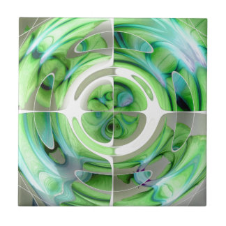 Türkis und Grün-abstrakte Collage Keramikfliese