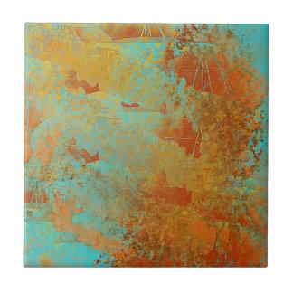 Türkis und Kupfer-Rotes abstraktes Fliese