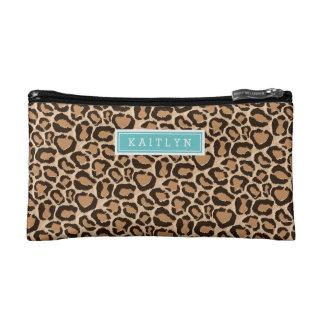 Türkis-und Leopard-Druck-Gewohnheits-Monogramm Makeup-Tasche