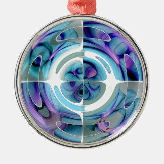 Türkis und lila abstrakte Collage Rundes Silberfarbenes Ornament