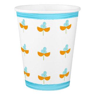 Türkis und orange Watercolor-Blumen Pappbecher