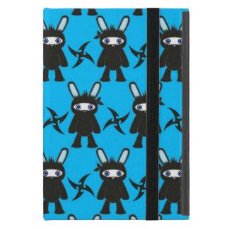 Türkis und schwarzes Ninja Häschen-Muster iPad Mini Hüllen
