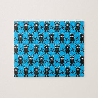 Türkis und schwarzes Ninja Häschen-Muster Puzzle