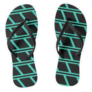 Türkis und schwarzes Ziegelstein-Muster drehen Flip Flops