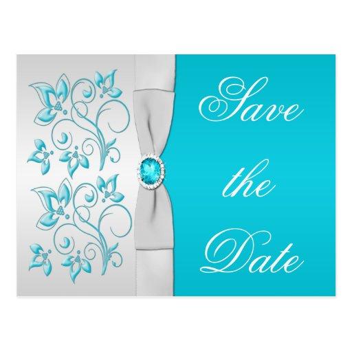 Türkis und Silber mit Blumen Save the Date Postkarte