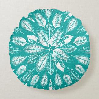 Türkis und Weiß-Blätter-Muster-rundes Kissen