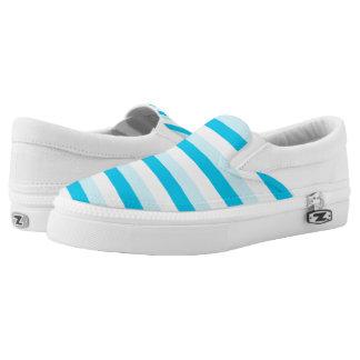 Türkis und weiße Streifen Slip-On Sneaker