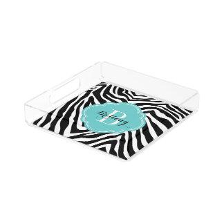 Türkis-und Zebra-Druck-Gewohnheits-Monogramm Acryl Tablett