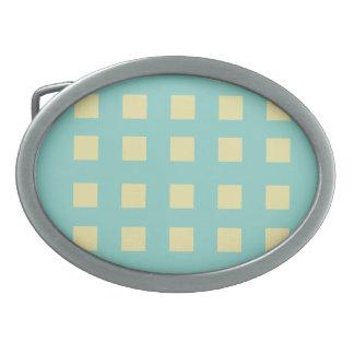 Türkis-und Zitronen-Quadrate Ovale Gürtelschnalle