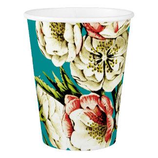 Türkis-Vintages Blumenmuster Pappbecher