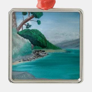 Türkis wässert großes silbernes ornament
