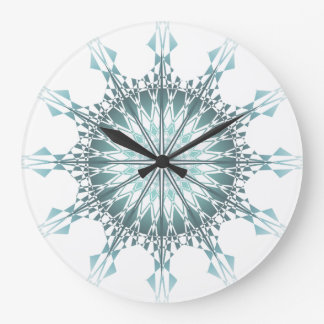 Türkisaquamariner Mandala geometrisch Große Wanduhr