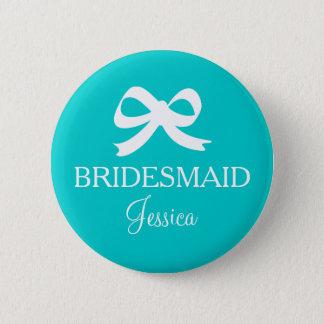 Türkisblau-Brautjungfernknopf für wedding Party Runder Button 5,7 Cm
