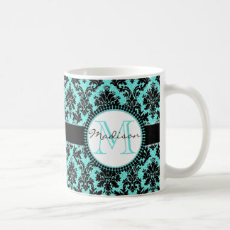Türkisblau-Glitter u. schwarzer Damast, Name Kaffeetasse