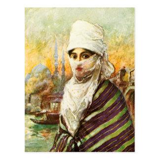 Türkische Dame im traditionellen Kostüm Postkarte