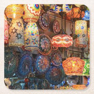 Türkische Glaslampen für Verkauf in Istanbul-Markt Rechteckiger Pappuntersetzer