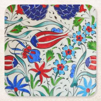 Türkisches Blumenmuster Rechteckiger Pappuntersetzer