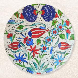 Türkisches Blumenmuster Runder Pappuntersetzer