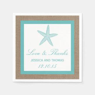Türkisstarfish-Leinwand-Strand-Hochzeits-Sammlung Papierservietten