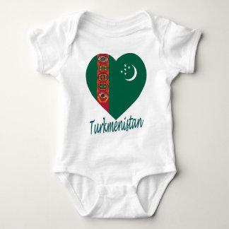 Turkmenistan-Flaggen-Herz Baby Strampler