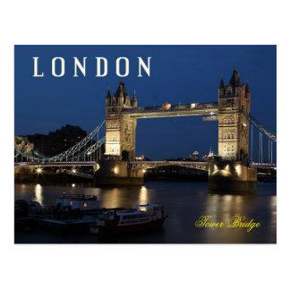 Turm-Brücke, London, England nachts Postkarte
