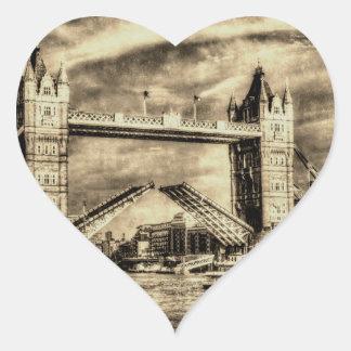 Turm-Brücke London Vintag Herzaufkleber