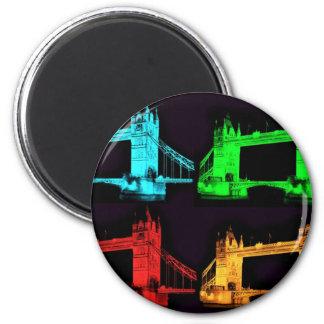 Turm-Brücken-Collage Runder Magnet 5,1 Cm