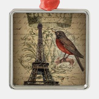 Turm Chic-französischer Vogel-moderner Vintager Quadratisches Silberfarbenes Ornament