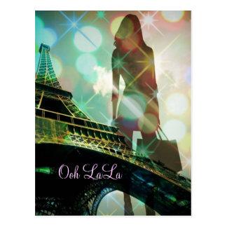 Turm-Glitzern Paris Eiffel shopaholic Fashionista Postkarte