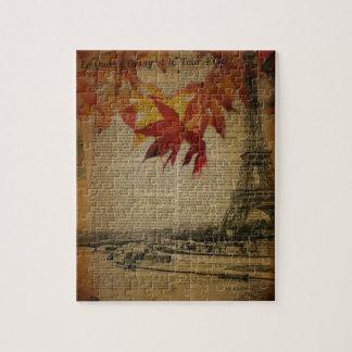 Turm Herbstahorn-Blätterfallparis Eiffel Puzzle