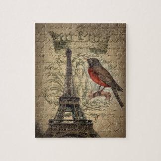Turm Kronen-Vogel-moderner Vintager Paris Eiffel Puzzle