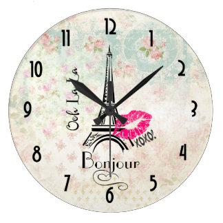 Turm Ooh La-La-Paris Eiffel auf Vintagem Muster Uhren