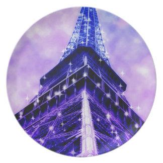 Turm Paris Frankreich Eiffel lila Party Teller