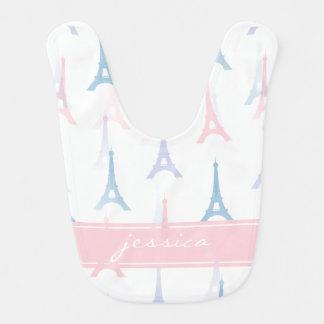 Turm-Rosa-personalisierter Baby-Schellfisch Paris Lätzchen