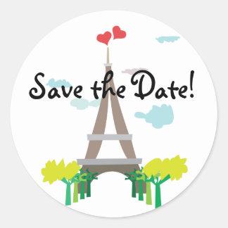 Turm-Save the Date Aufkleber Paris Eiffel