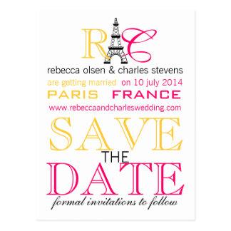Turm-Save the Date Postkarten Paris Eiffel